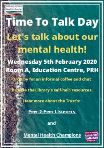 Time to Talk Day @ Room A, Education Centre, Princess Royal Hospital
